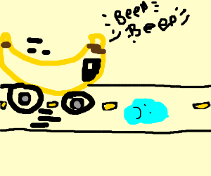 Banana car drives over a sad puddle