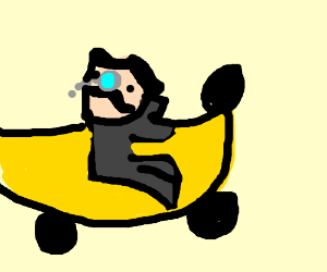 A fancy man driving a banana car backwards