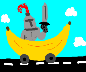 barnacled knight in a banana car