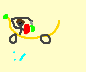 A roman knight on a banana bus