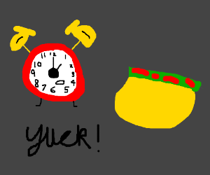 alarm clock hates mexican food drawing by yoshi uk