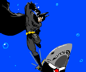 Batman fights shark businessman underwater