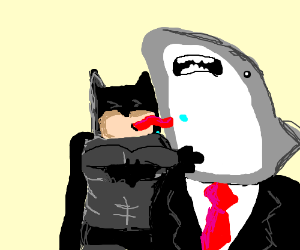 Batman kicks a shark in a suit