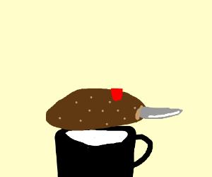 A knife made of potato ontop of a black mug