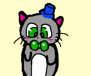 Gray cat in blue hat (bow matches its eyes)