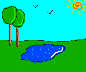 Dark blue puddle with light blue dots