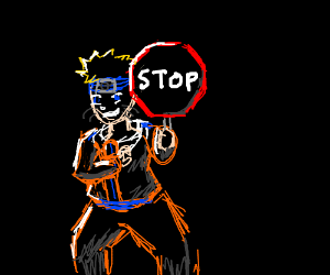 naruto holding a stop sign
