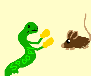 Spoopy snake boxing a mouse