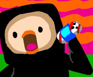 Finn the Crow eats sentient candy in blu shirt