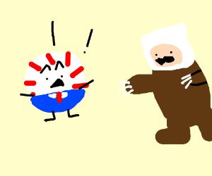 Peppermint Butler is afraid of the Finn bear