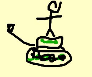 Man rides a tank