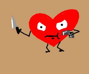 A Heart holding a gun and a knife