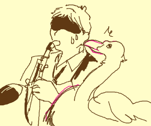 Flamingo bites saxophone player.