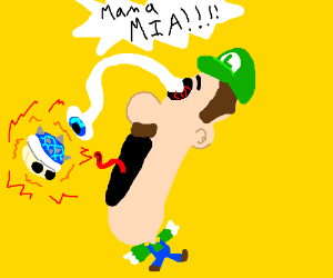 Luigi sees a blue shell coming. Mama mia!