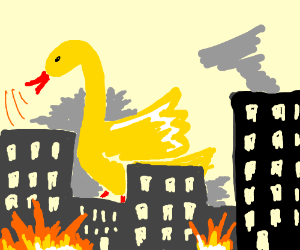 Giant duck is on rampage through the city.