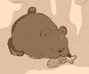 A small animal (bear?) eats food