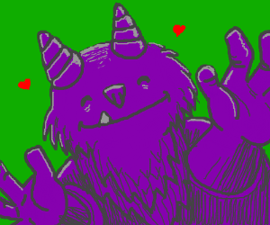 purple troll happy