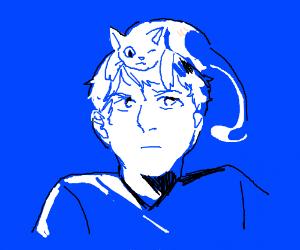 Hairless cat hanging on to guys head