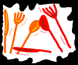 Orange and red utensils duke it out
