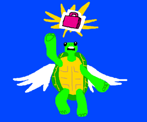 Flying turtle reaches for a pink briefcase