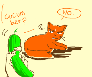Orange tabby cat rejects a cucumber offering.