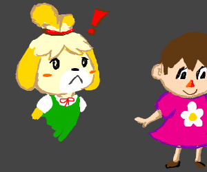 Isabelle walks in on Villager cross-dressing