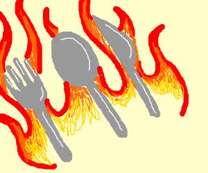 fire silverware