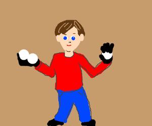 Man's big black hands hold white balls