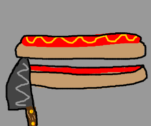 Hot dog slice horizontally