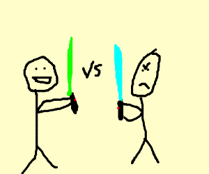 two stickfigures have a lightsaber battle