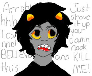 homestuck child with orange horns say kill me
