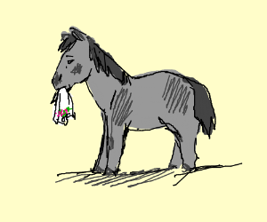 pony with handkerchief in mouth