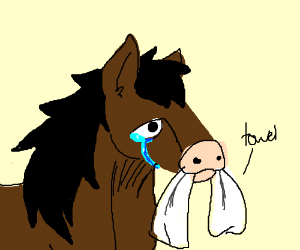 sad horse holds a towel in its mouth