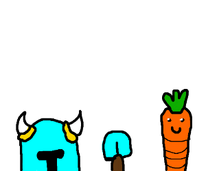 shovel knight with a carrot appearing