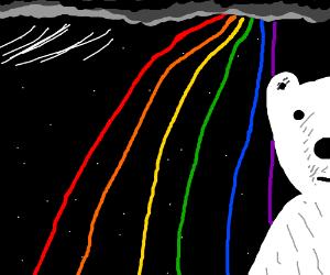 Rainbow half-face polar bear