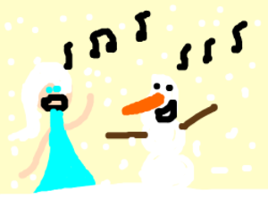 elsa makes snow and sings with olaf