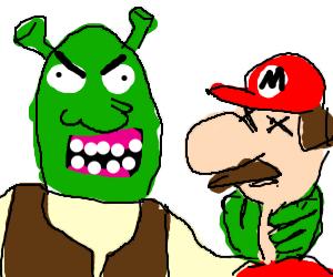 crazy Shrek killes Mario!