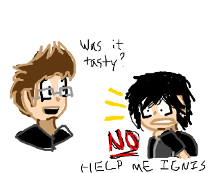 Ignis forcing Noctis to try his new recipe