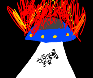 Fiery flaming spaceship abducting a cow