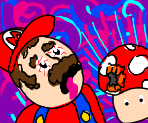 Mario trips out on a magic mushroom.