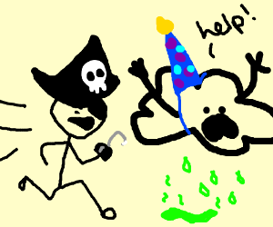 party foul cloud chased by pirate, leaks acid