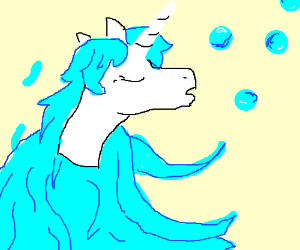 A horse blowing bubbles