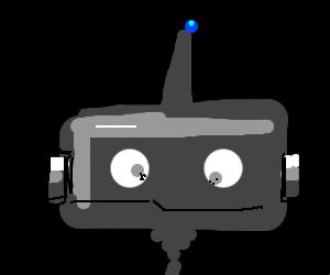 Sad, awkward head robot