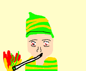 guy getting high by a fire