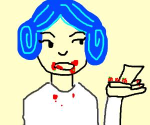 Blue haired Leia just ate raspberries