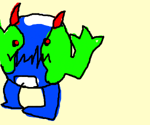 Earth monster with red eyes