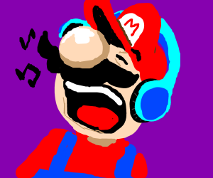 Mario listens to music.