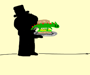 Monochromatic man eats dragon sandwich