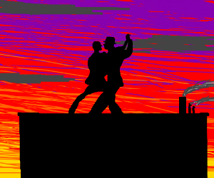 Couple dancing on a rooftop.