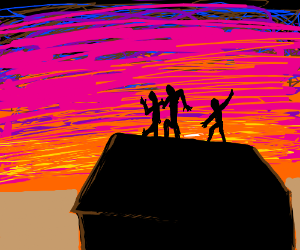 Dancing on the roof during a sunset